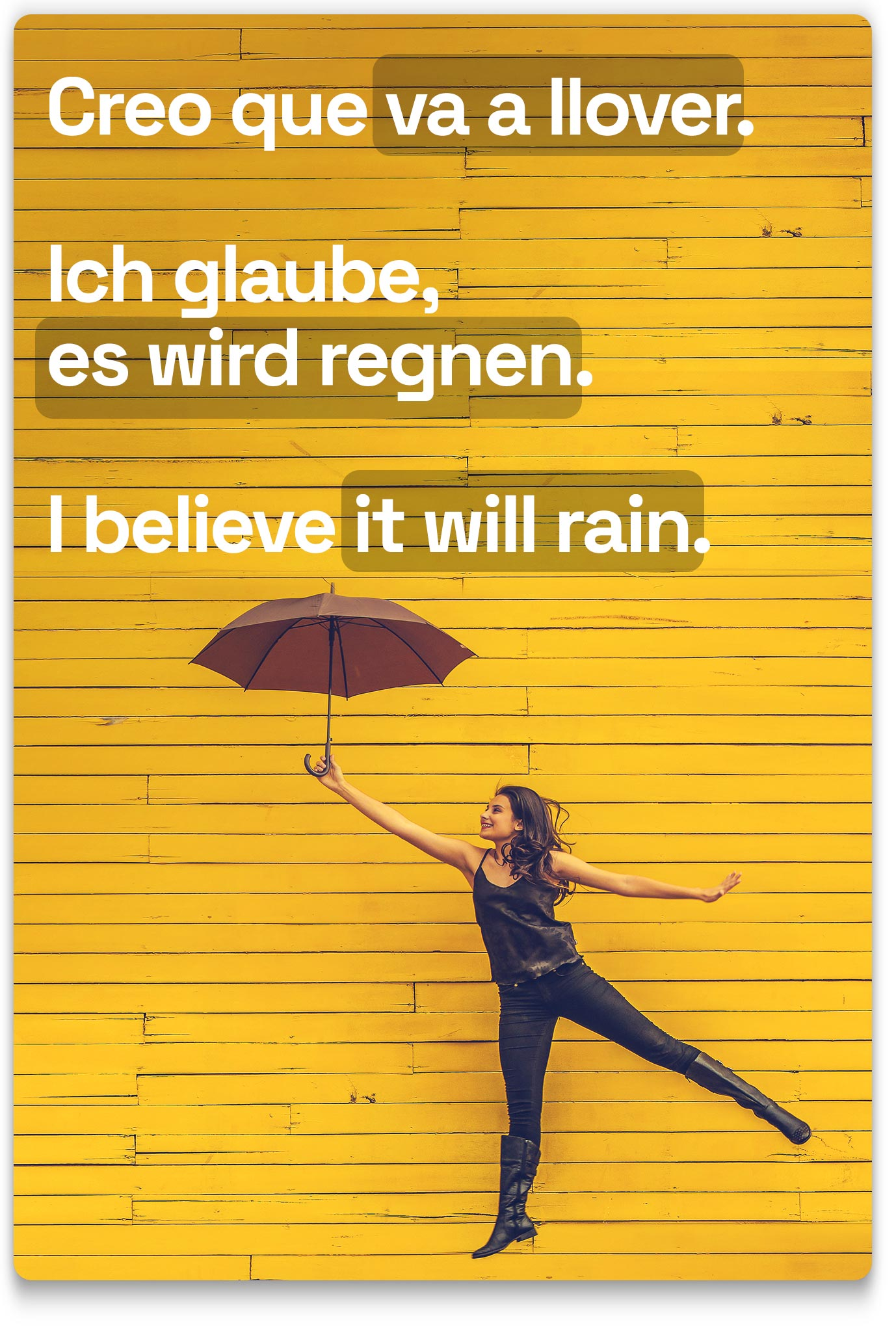 Woman with umbrella saying that she believes it would rain